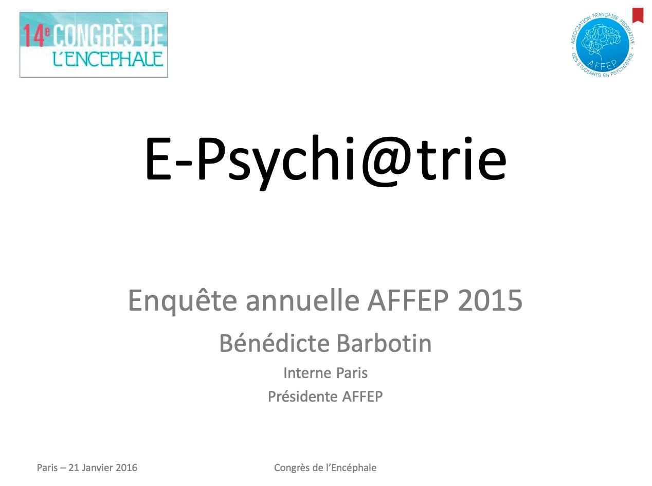 2014-2015 Les internes face à la e-psychiatrie